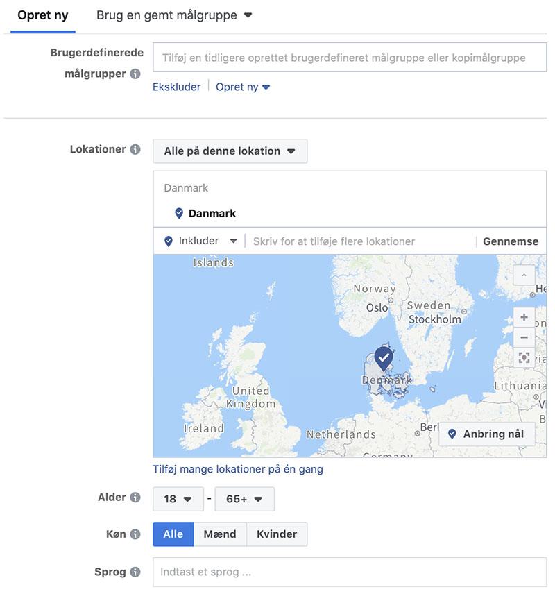 Facebook gemte målgrupper