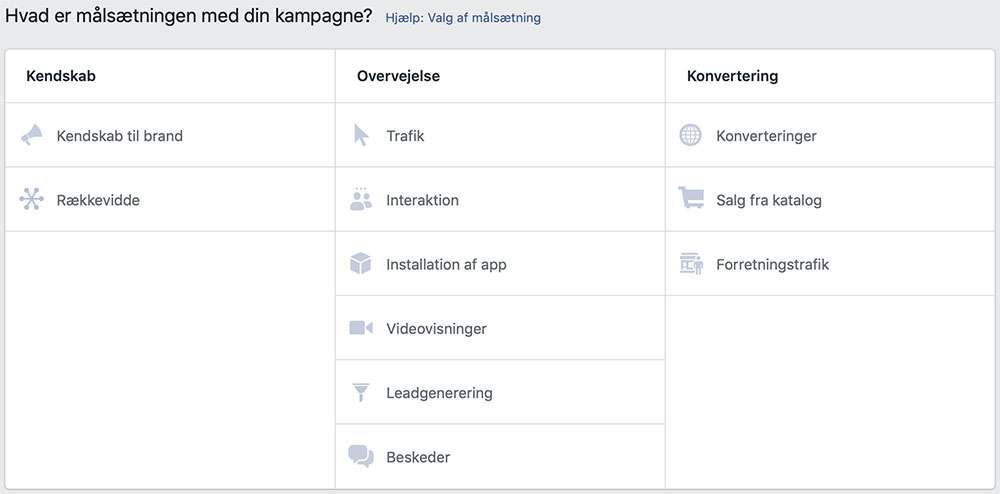 Facebook ads Målsætning