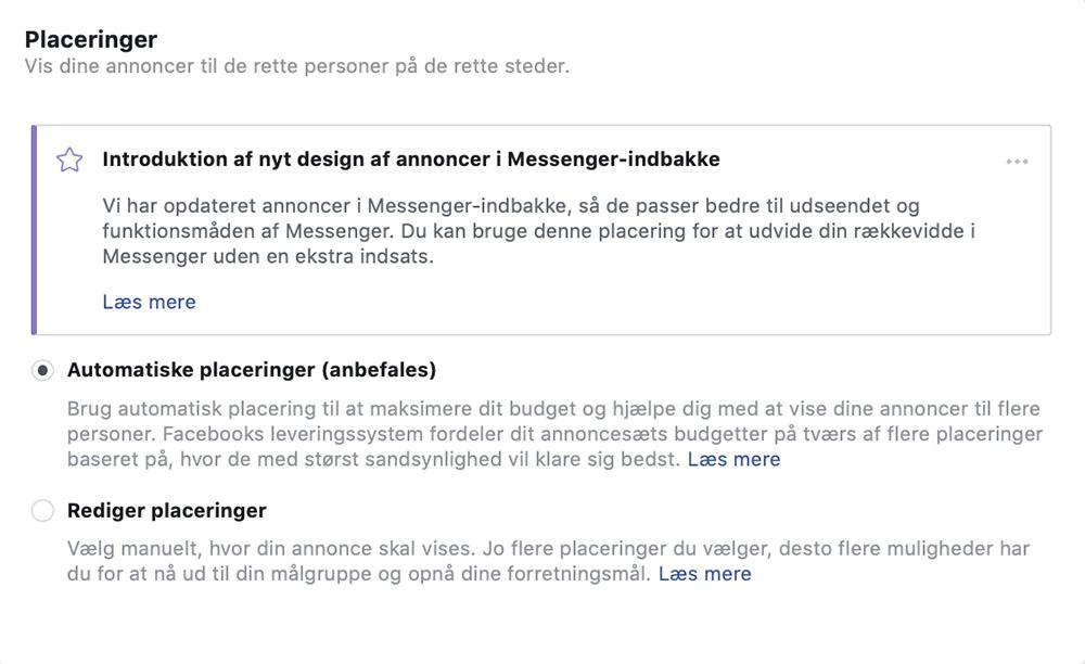 Facebook automatiske placeringer