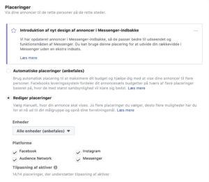 Facebook manuelle placeringer