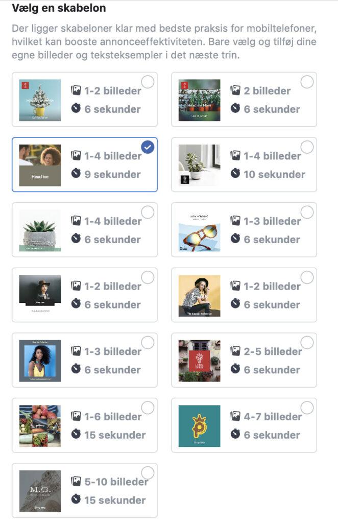Facebook video annonce skabeloner