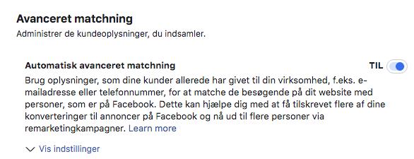 Facebook avanceret matching