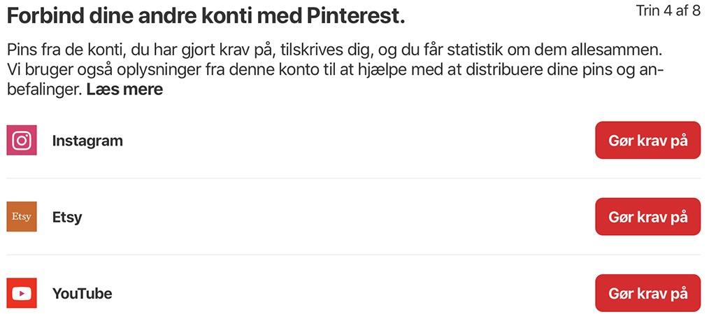 Forbind Pinterest med andre social media platforme